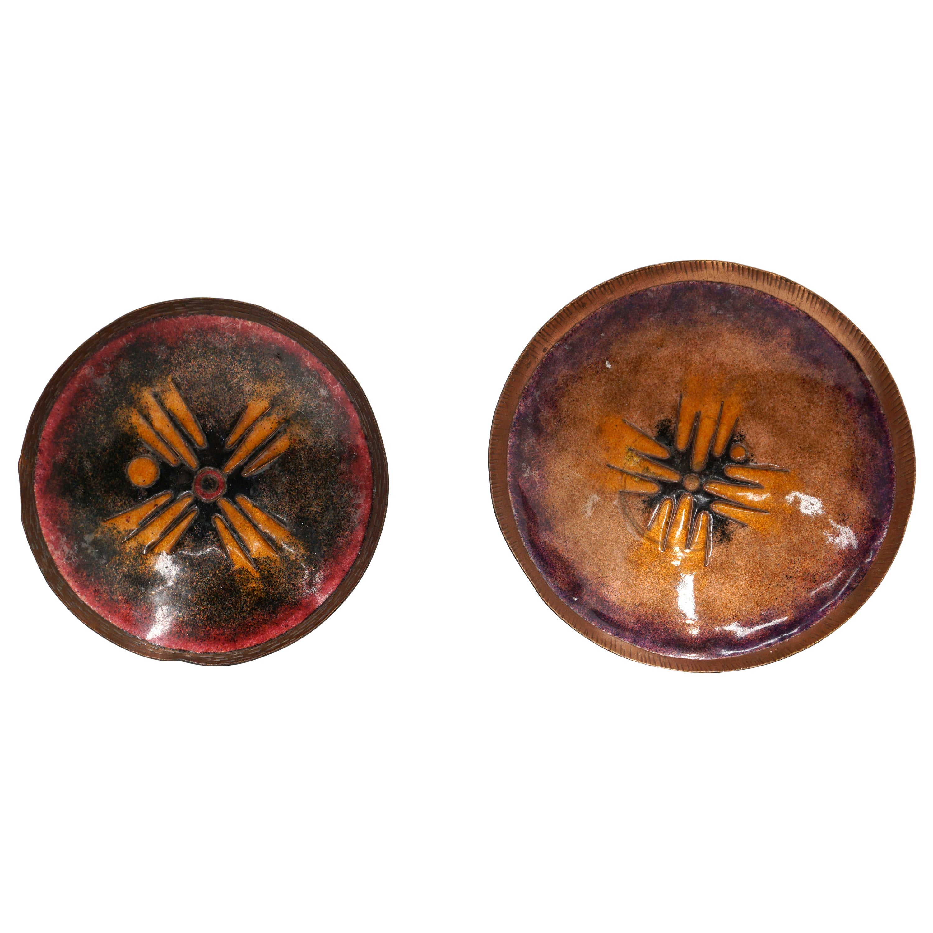 Pair of Enamel on Copper Bowls / Dishes, Likely Danish, Orange, Brown, Black