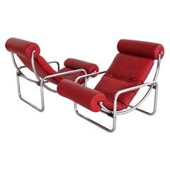 Italian Midcentury Pair Tubular Chrome and Leatherette Rocking Chair, 1960s