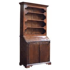 Italian 19th Century Chestnut Bookcase over Folding Desk