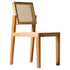 """Parruda"" Wooden Chair, Solid Wood with Straw, Minimalist Brazilian Design"