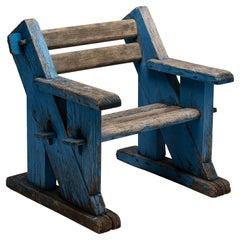Painted Constructivist Armchair in Blue, France, Circa 1950