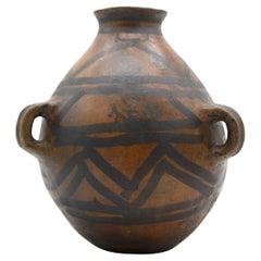 Mayan Pre-Columbian Style Large Dark Pot with Geometric Drawings