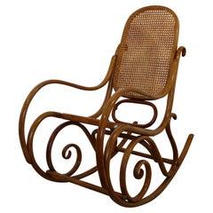 Mid-Century Modern Thonet Bentwood & Cane Schaukelstuhl Rocker Rocking Chair 70s