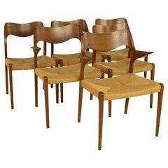 Niels Moller Mid Century Model 71 Teak Dining Chairs, Set of 6