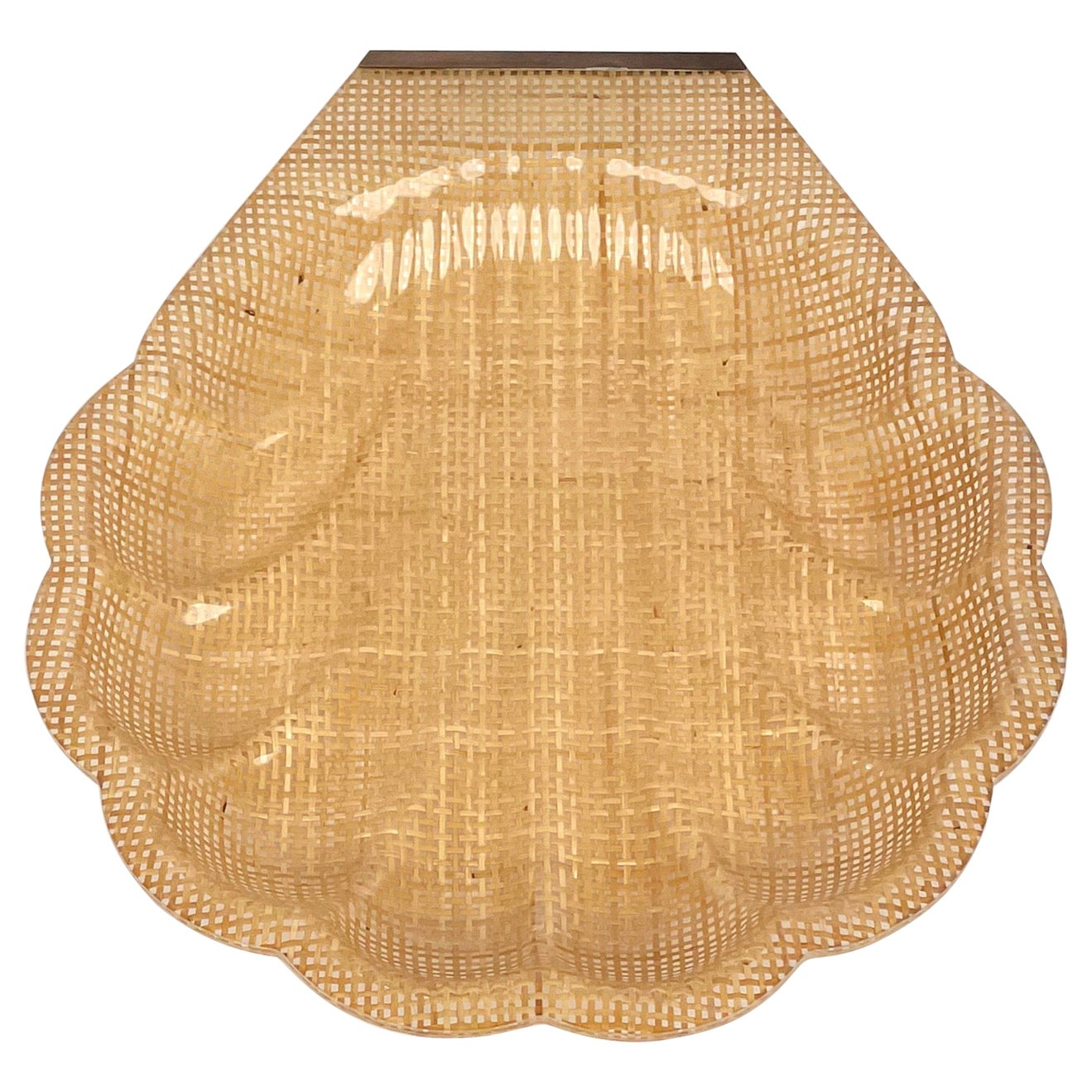 Shell Centerpiece Lucite and Rattan Christian Dior Style, France, 1970s