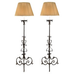 Pair of Italian Early 19th Century Wrought Iron Electrified Torchère