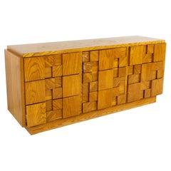 Lane Brutalist Mid Century Oak Lowboy Dresser