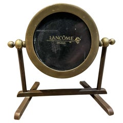 Lancome Paris Art Deco Round Brass Picture Frame on Display Stand France