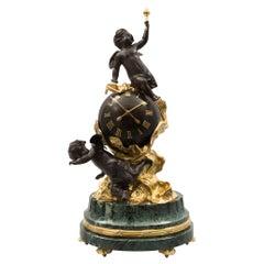 Continental Patinated Bronze and Ormolu Clock