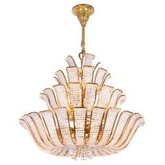1960 Germany Palwa Hollywood Regency Crystal & Gilt Brass Chandelier