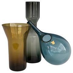 Three Piece Blue Amber and Smoke Scandinavian Glass Collection
