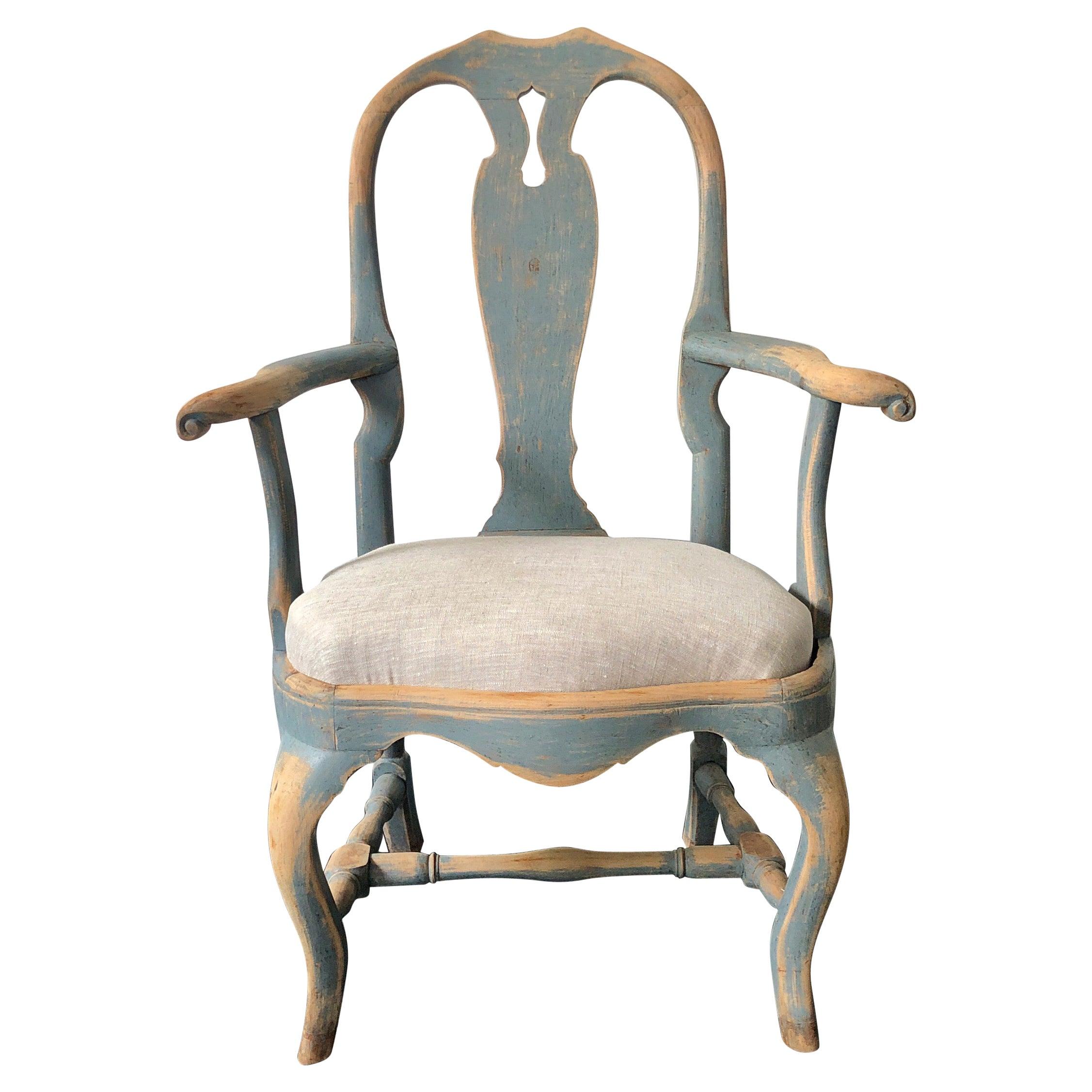 18th Century Swedish Period Rococo Armchair