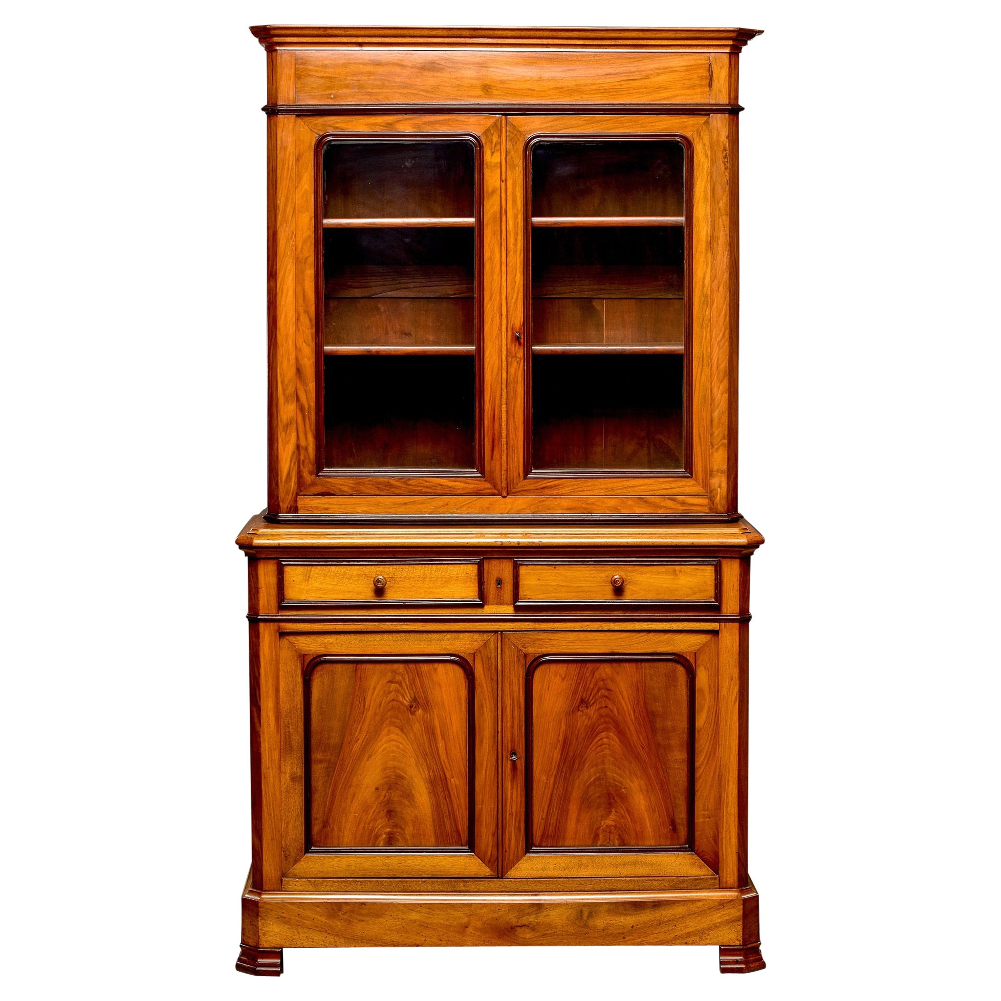 19th C Louis Philippe Style Mahogany Buffet a Deux Corps