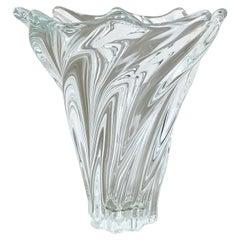 Large Floral Crystal Glass Vase Bowl by Art Vannes, France, 1970s