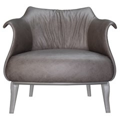 """Amphora Armchair in """"Antique"""" Italian Leather Upholstery and Grey Wood Base"""