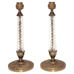 Pair of Crystal Candlesticks by Cristalleries de Sevres