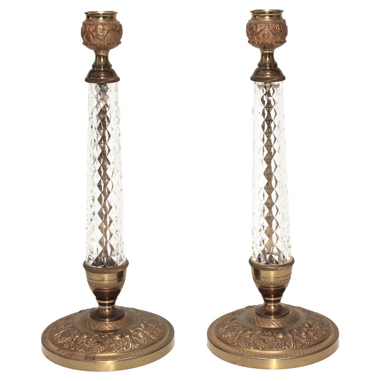 Pair of Crystal Candlesticks by Cristalleries de Sevres For Sale