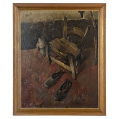 Antique Post Impressionist Framed Oil Painting on Canvas by P. H. Shott