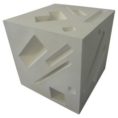 Mid-Century Modern Abstract Cube Sculpture Signed Steve Upham