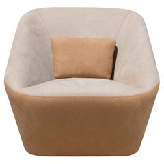 Prince Spencer Armchair with Two-Tone (Beige-Orange) Fabric Upholstery