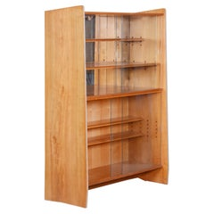 Unique Czech Ash Mid-Century Bookcase, 1950s, Well Preserved Condition