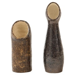 Pair of European Sculptural Ceramic Vases in the Style of Borderie, 1960's