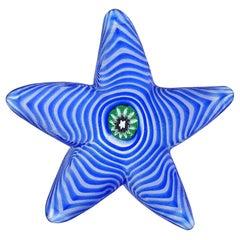 Cenedese Murano Blue Swirl Flower Murrine Italian Art Glass Starfish Paperweight