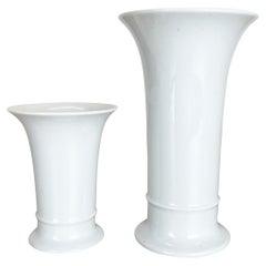 Set of 2 Original OP Art white Porcelain Vases by AK Kaiser, Germany, 1970s
