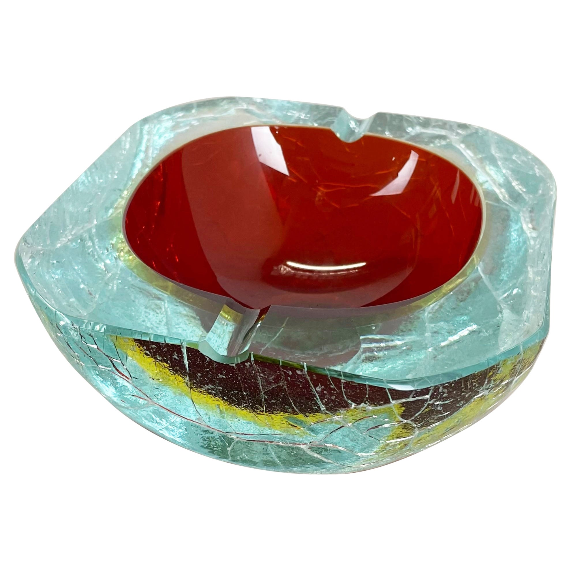 Large 1,7kg Murano Glass Crack Structure Bowl Shells Ashtray Element Italy 1970s