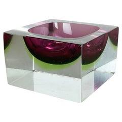 Murano Glass Sommerso Block 1,1kg Cube Ashtray Element Flavio Poli, Italy, 1970s