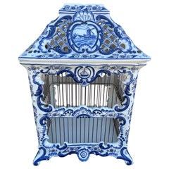 Vintage French Blue & White Porcelain Birdcage