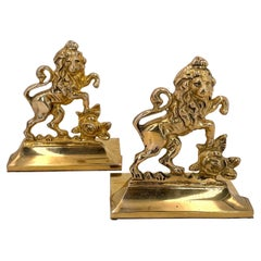 Pair of Solid Brass English Rampant Lion Bookends