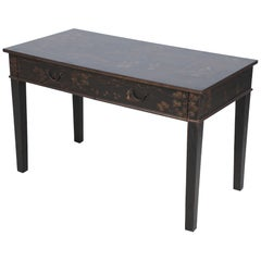 Chinese Black and Painted Pastoral Scene Writing Desk