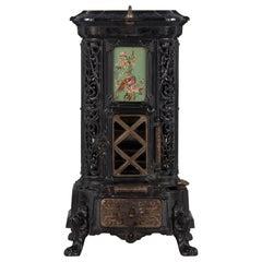 French Art Nouveau Cast Iron Coal Heater by Sougland, 1900's