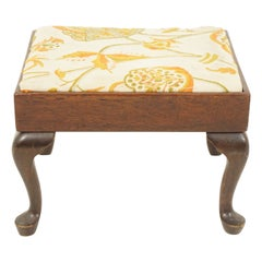 Vintage Walnut Queen Anne Style Upholstered Stool, Scotland 1920, B2713