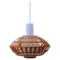 Opaline Glass and Wicker Ceiling Lamp, 1960s