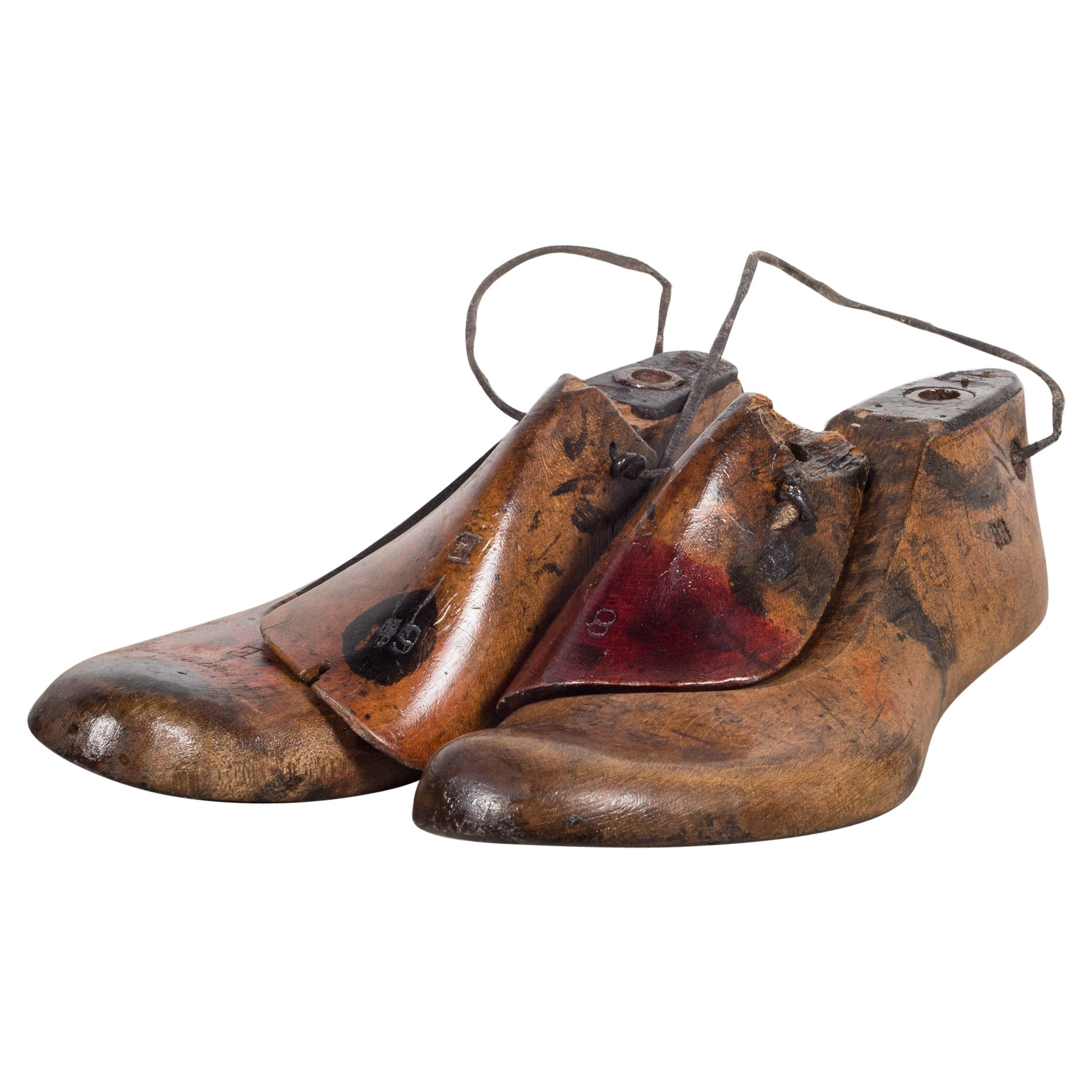 Early 20th Century Antique Wood and Leather Shoe Last, circa 1920