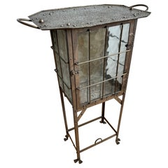 Arts and Crafts Iron & Glass Display Table / Drinks Cabinet Attr. Hugo Berger
