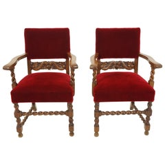 Pair of Antique Upholstered Barley Twist Oak Arm Chairs, Scotland 1910, B2714