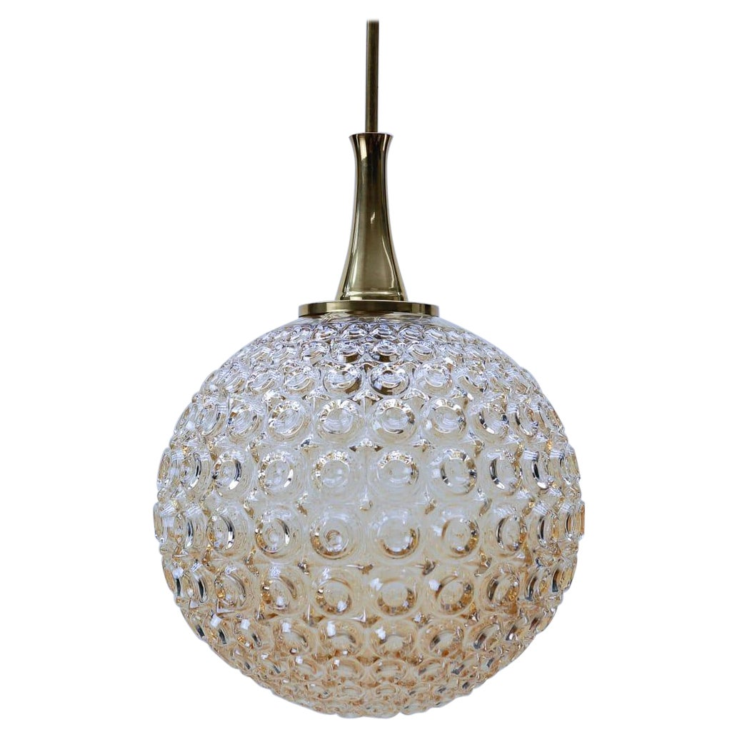 Giant Bubble Glass Amber Pendant Lamp, 1960s