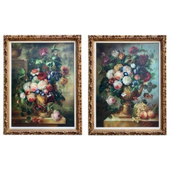 Pair of Large Still Life Oil Paintings of Flowers in Urns