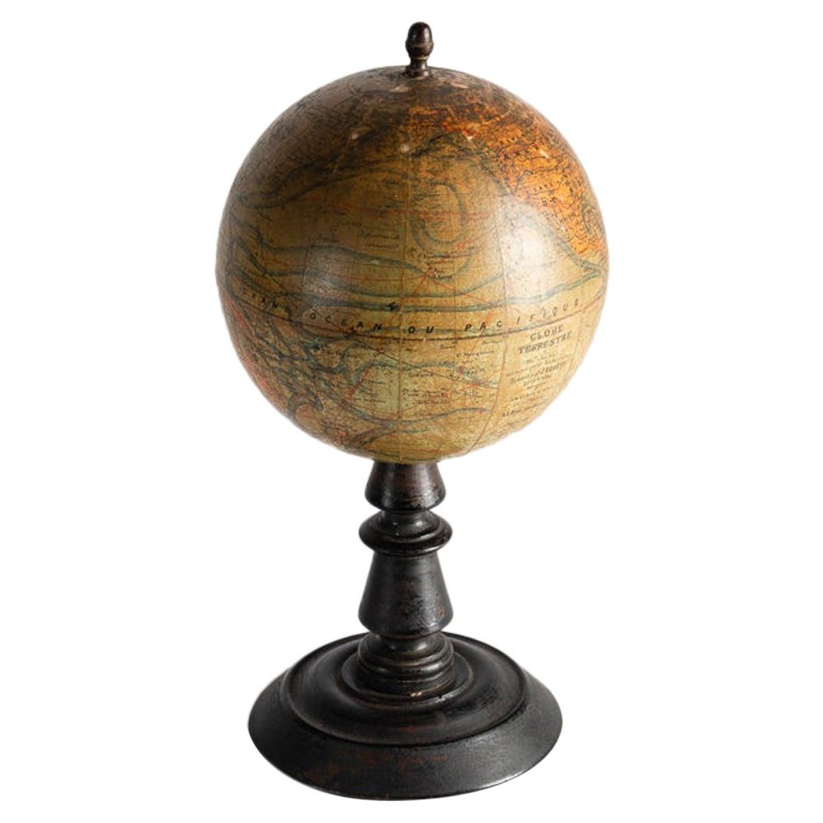 Terrestrial Globe on Ebonized Stand, France, Early 20th Century