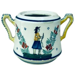 French Faience Handled Pot Henriot Quimper, Circa 1900