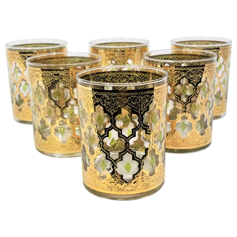 Culver 22k Gold Signed Mid Century 1960s Glassware Barware For Sale