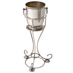Art Deco Champagne Bucket or Wine Cooler on Frame Stand by Yeoman of England