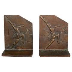 Bronze Art Deco Tennis Player Bookends