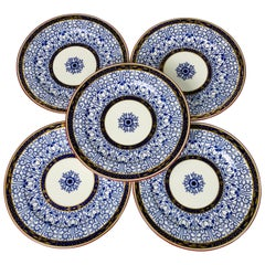 Blue and White Set of Dinner Dishes Derby Royal Lily Pattern Made England 1882