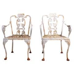 Pr. Atlanta Stove Works Cast Iron Garden Chairs
