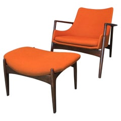 Ib Kofod-Larsen Sculpted Chair and Ottoman for Selig