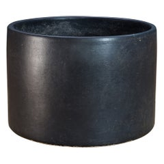 1950s Mid-Century Large Black Ceramic Cylinder Planter Gainey/Bauer